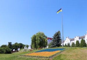 В центре Сум появился огромный сине-желтый цветник